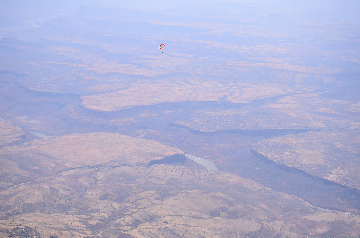 Paragliding over Nile river